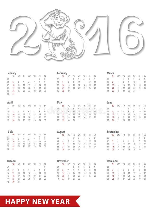 Kalender 2016 Chinesischer Tierkreisaffe, Zahlen stock abbildung