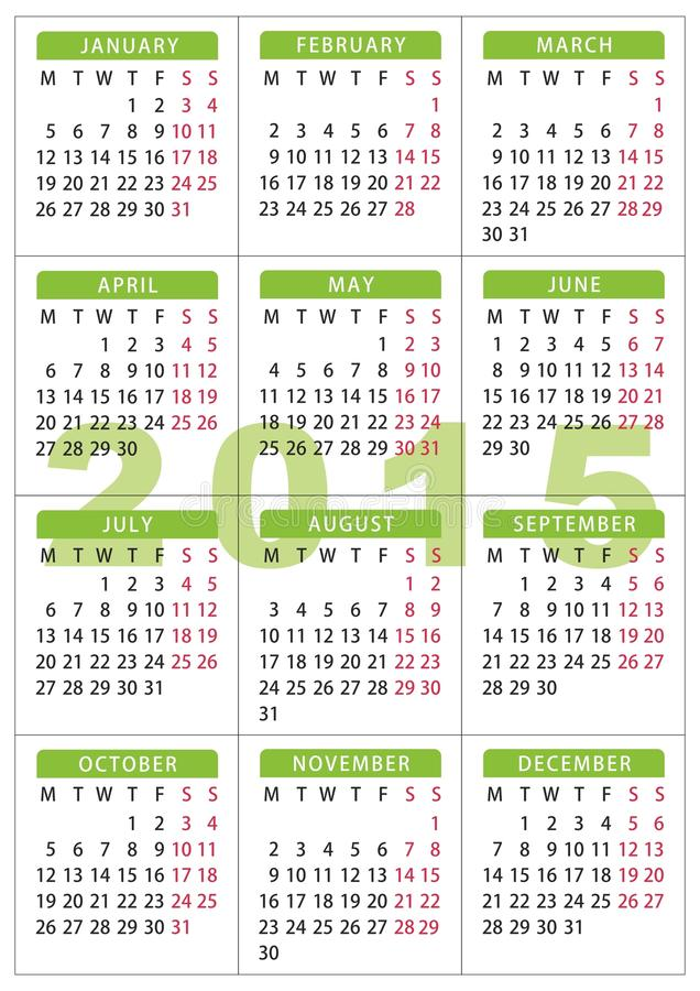 Kalender 7 x 10 cm - 2,76 x 3,95 Zoll mit 2015 Taschen vektor abbildung