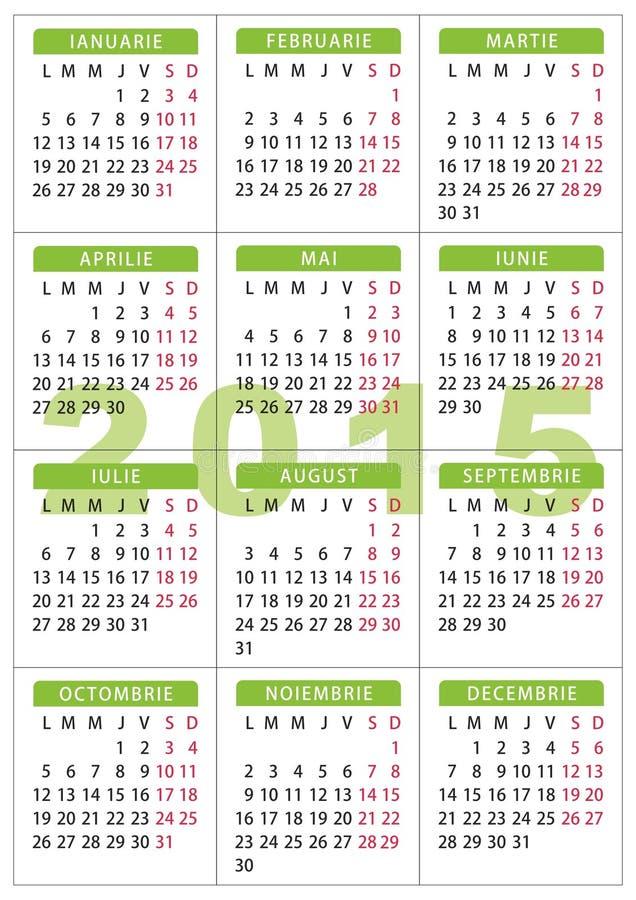 Kalender 7 x 10 cm - 2,76 x 3,95 Zoll Rumäne-Sprache mit 2015 Taschen lizenzfreie abbildung
