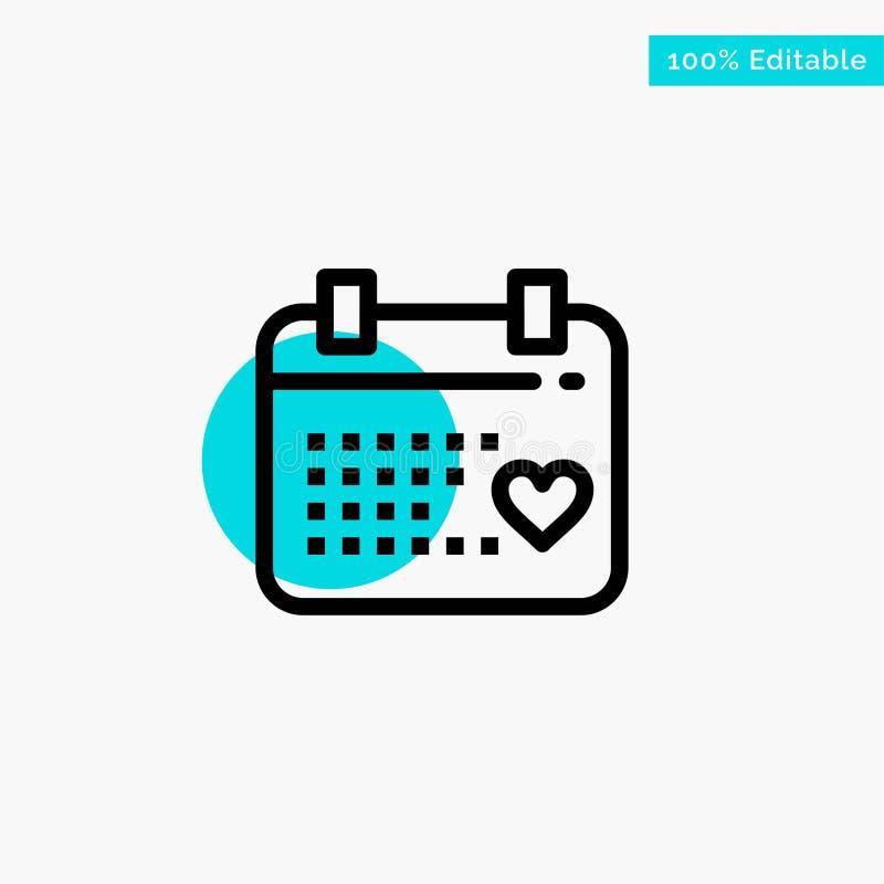 Kalender dag, förälskelse, symbol för vektor för punkt för cirkel för bröllopturkosviktig stock illustrationer