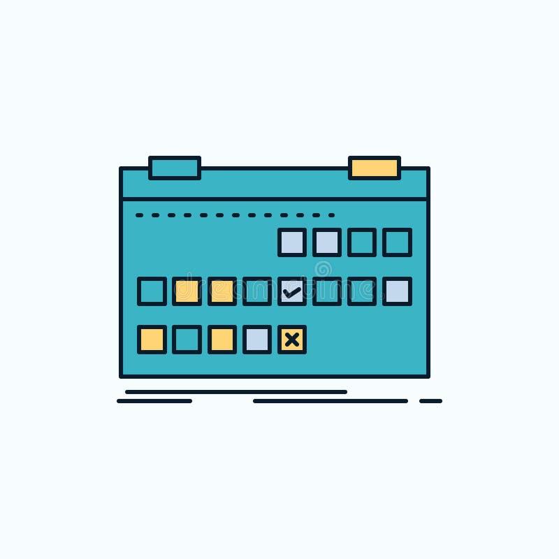 Kalender datum, händelse, frigörare, plan symbol för schema gr?nt och gult tecken och symboler f?r website och mobil appliation v stock illustrationer