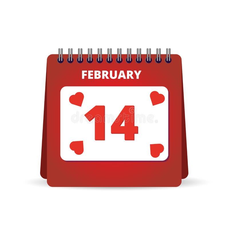 Kalender 14 de Dag van Februari Valentine Vector illustratie vector illustratie
