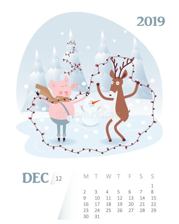 Kalender 2019 De leuke December-kalender van het maandbeeldverhaal met varkenscha royalty-vrije illustratie