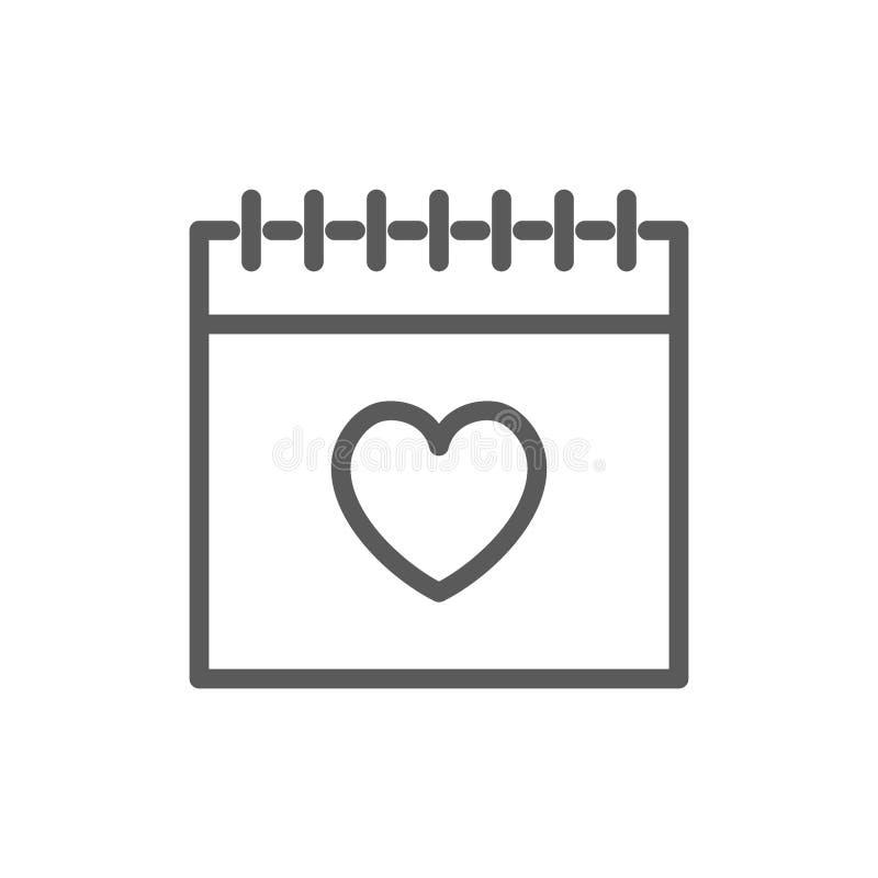 Kalender, de lijnpictogram van de valentijnskaartendag royalty-vrije illustratie