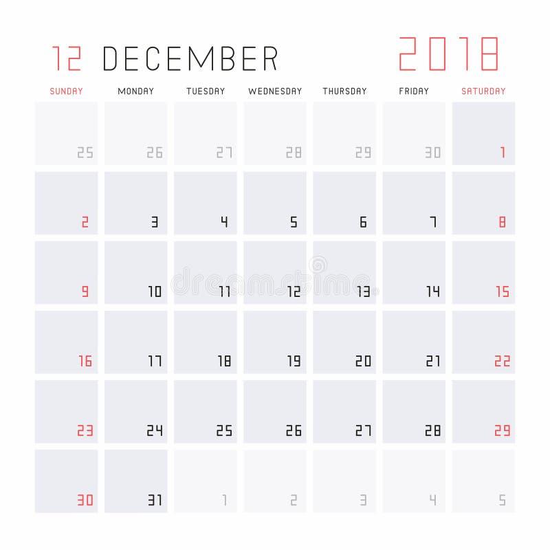 Kalender December 2018 royaltyfri illustrationer