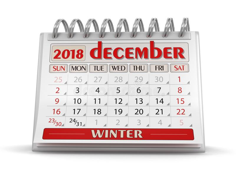 Kalender - december 2018 vektor illustrationer