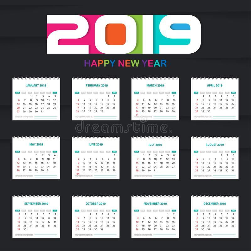 Kalender 2019 Den färgrika uppsättningen, ställde in design för skrivbord- och väggkalendermall med utrymme för Foto och den Före stock illustrationer