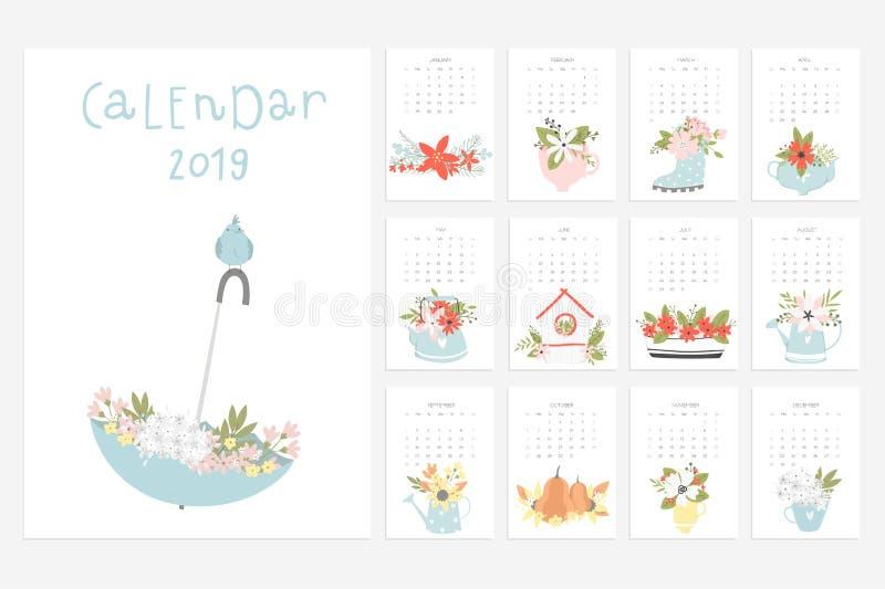 Kalender 2019 Den roliga och gulliga kalendern med den drog handen blommar royaltyfri illustrationer
