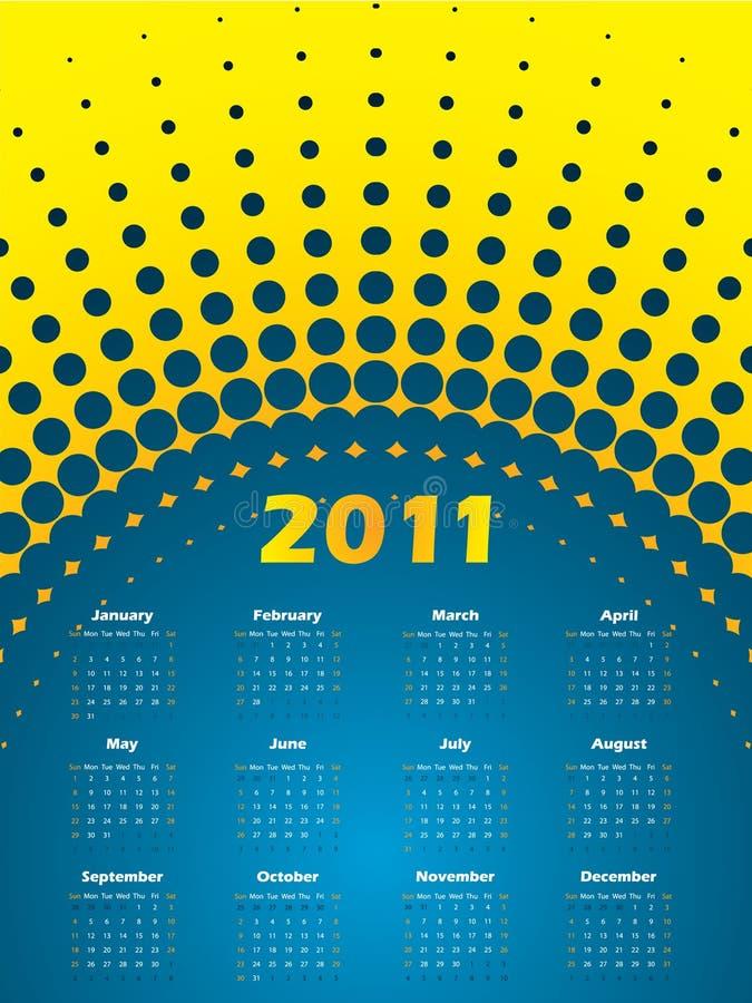 Kalender des Halbtonbild 2011 im Blau und im Gelb lizenzfreie abbildung