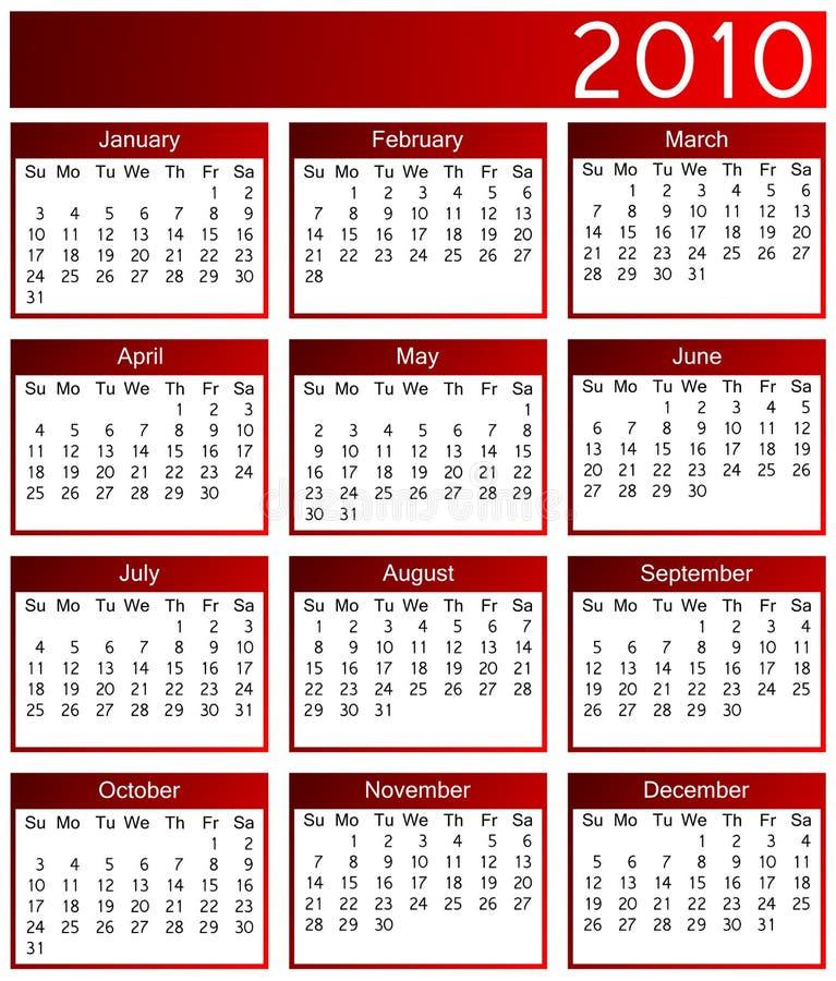 Kalender des Jahres 2010 lizenzfreie abbildung