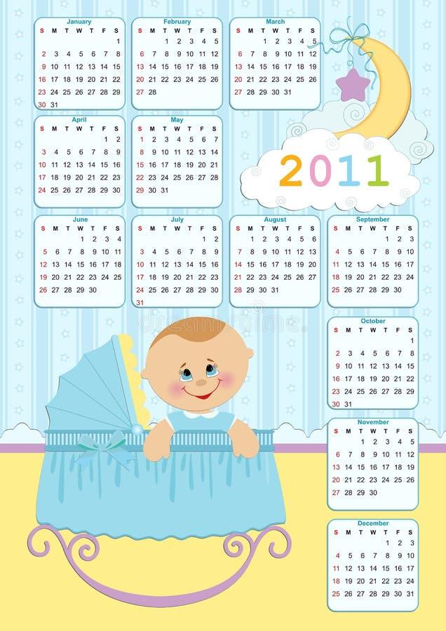 Kalender des Schätzchens für 2011 lizenzfreie abbildung