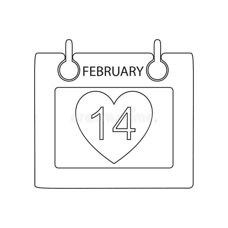 Kalender des Tages der Liebhaberikone Element des Valentinsgru?es  ?des s-Tages, der Hochzeit f?r bewegliches Konzept und der Net vektor abbildung