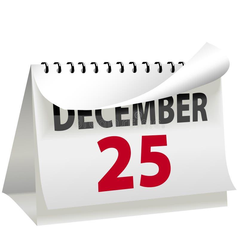 Kalender dreht Seite zum Weihnachten 25. Dezember stock abbildung