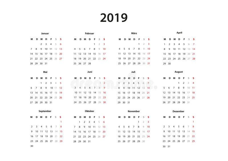 Kalender 2019, 2020, 2021 Kalender einfache Vorlage, deutsch vektor illustrationer