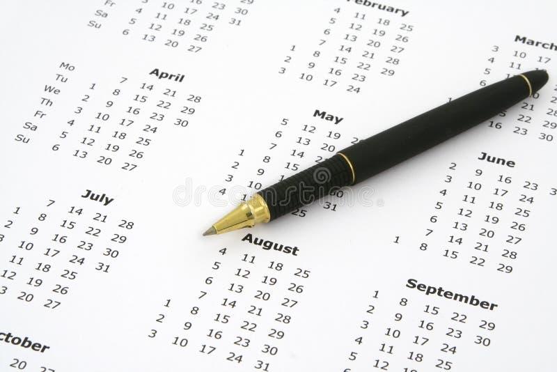 Kalender en ballpoint #2 royalty-vrije stock afbeelding