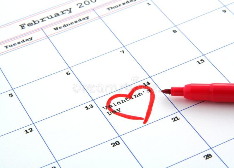 Kalender en de dag van de valentijnskaart royalty-vrije stock afbeeldingen