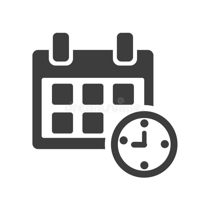 Kalender en Klok zwart-wit pictogram Vector stock illustratie