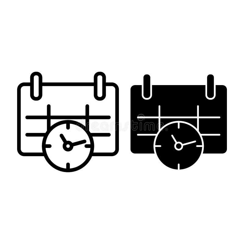 Kalender en kloklijn en glyph pictogram Datum en tijd vectordieillustratie op wit wordt geïsoleerd Het overzicht van de benoeming stock illustratie