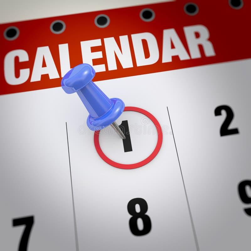 Kalender en punaise vector illustratie
