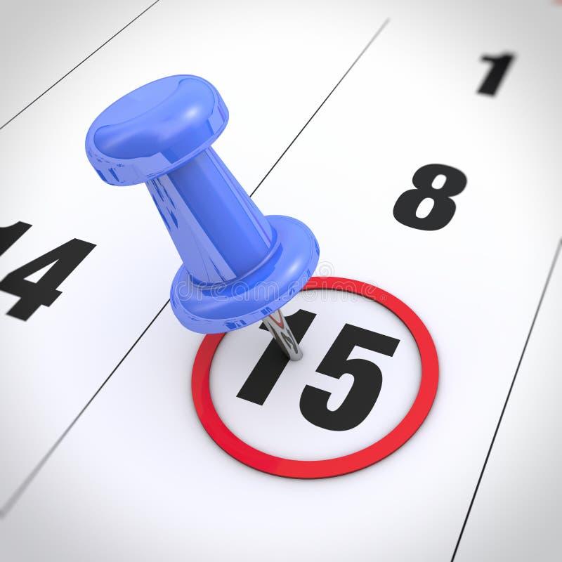 Kalender en punaise stock illustratie