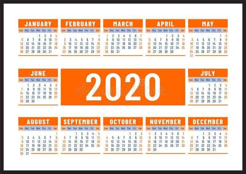 Kalender 2020 Engelsk orange färgvektordesign Veckastarter p? s?ndag Horisontalkalenderdesignmall stock illustrationer
