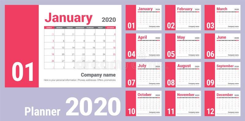 Kalender 2020 Englischer Kalender Ð-¡ olor Vektorschablone Wochenanfänge am Sonntag Draufsicht von zwei Geschäftsmännern, die etw vektor abbildung