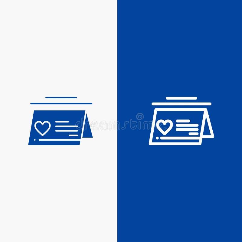 Kalender, förälskelse, gift och baner för blå för baner att gifta sig för linje och för skåra för fast symbol blått symbol för li stock illustrationer