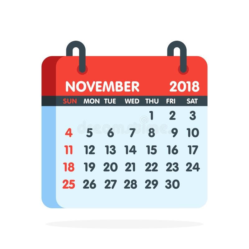Kalender för 2018 år Full månad av den November symbolen också vektor för coreldrawillustration stock illustrationer