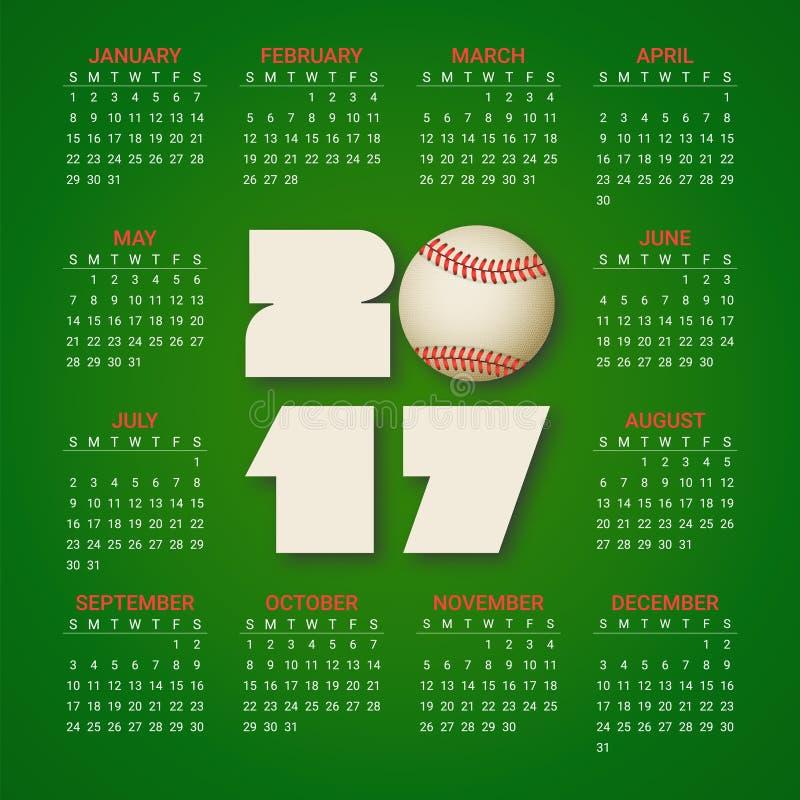 Kalender för 2017 år med baseballbollen på ljust - grön bakgrund Sport lektema Veckan startar från söndag vektor illustrationer