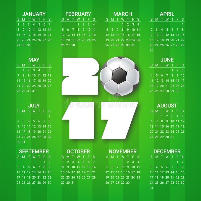 Kalender för 2017 år med fotbollbollen på ljust - grön bakgrund Sport fotbolltema Veckan startar från söndag stock illustrationer