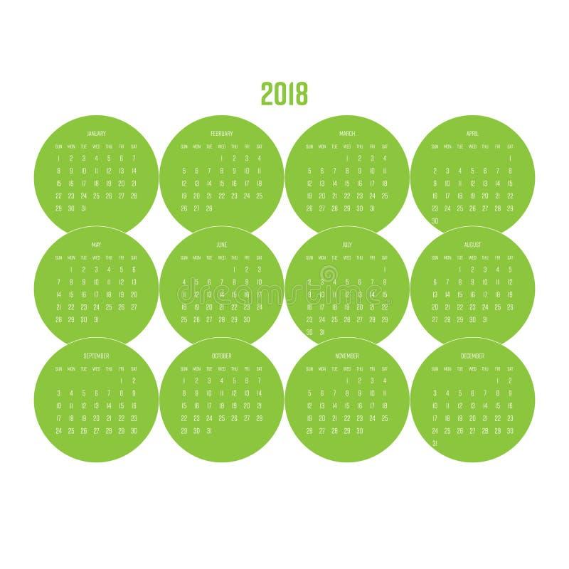Kalender för år 2018 med månader i grön cirkeldesignbeståndsdel Veckan startar från söndag Enkel plan vektorillustration royaltyfri illustrationer