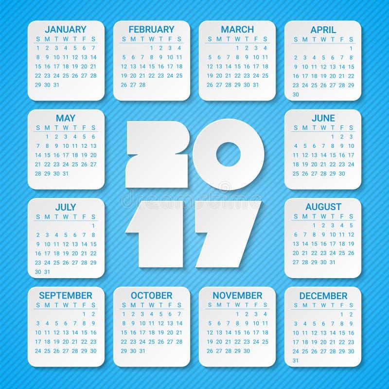 Kalender för 2017 år på en blå bakgrund Veckan startar från söndag Modern idérik mall för vektordesigntryck vektor illustrationer