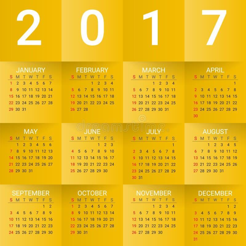 Kalender för 2017 år på gul bakgrund Veckan startar från söndag Modern idérik mall för vektordesigntryck royaltyfri illustrationer