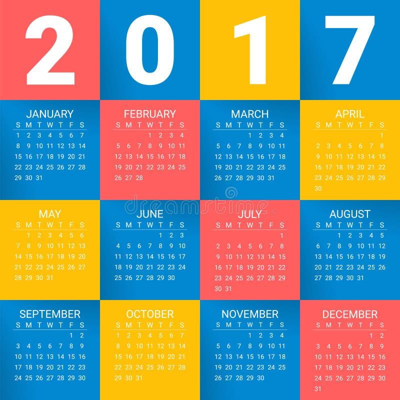 Kalender för 2017 år på ljus färgrik bakgrund Veckan startar från söndag Modern mall för vektordesigntryck vektor illustrationer