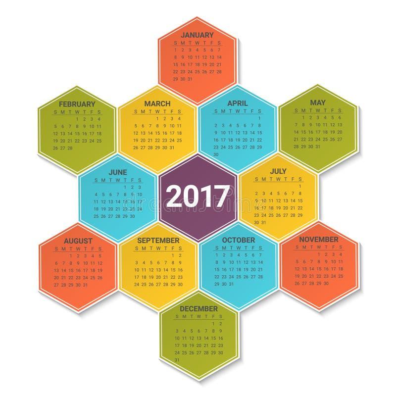 Kalender för 2017 år på ljus färgrik sexhörnig bakgrund Veckan startar från söndag Mall för vektordesigntryck vektor illustrationer