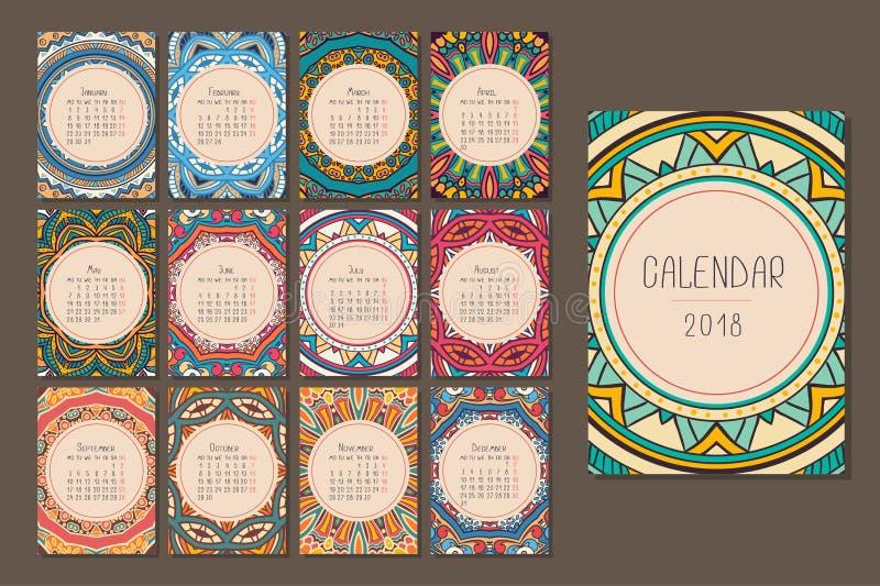 Kalender för 2018 vektor illustrationer