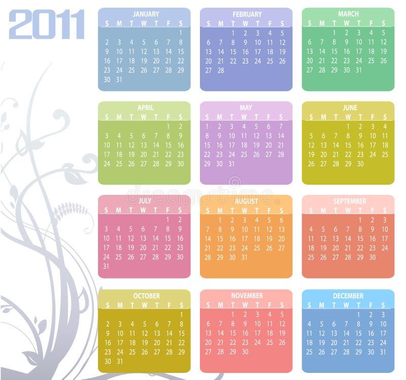 Kalender för 2011 royaltyfri illustrationer