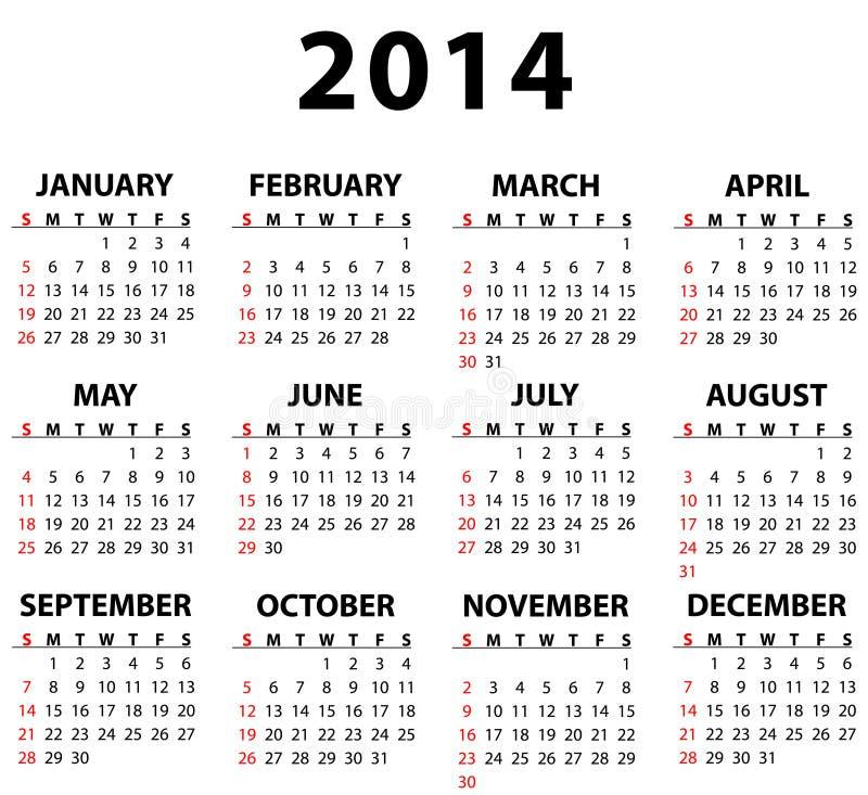 Kalender för 2014 stock illustrationer