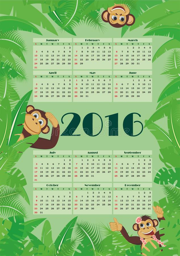 Kalender för 2016 stock illustrationer