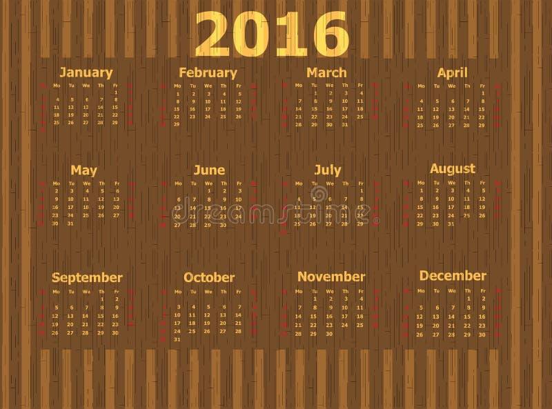 Kalender för 2016 arkivfoto