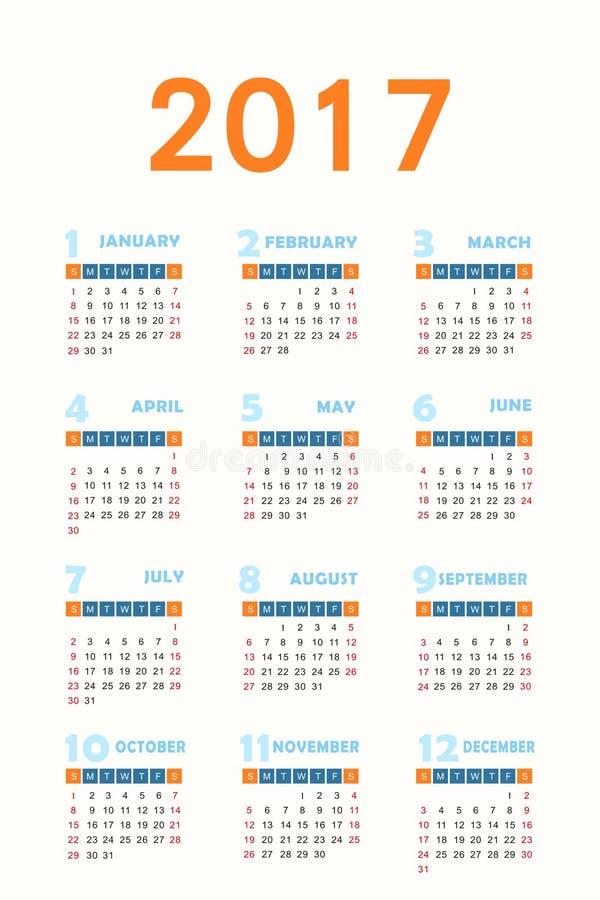 Kalender för 2017 vektor illustrationer