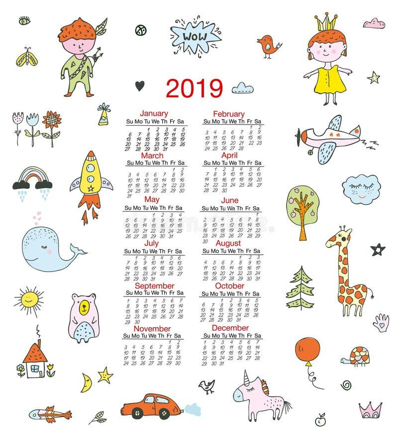 Kalender för barn med roliga klotter, ungar, djur, gulliga beståndsdelar också vektor för coreldrawillustration vektor illustrationer