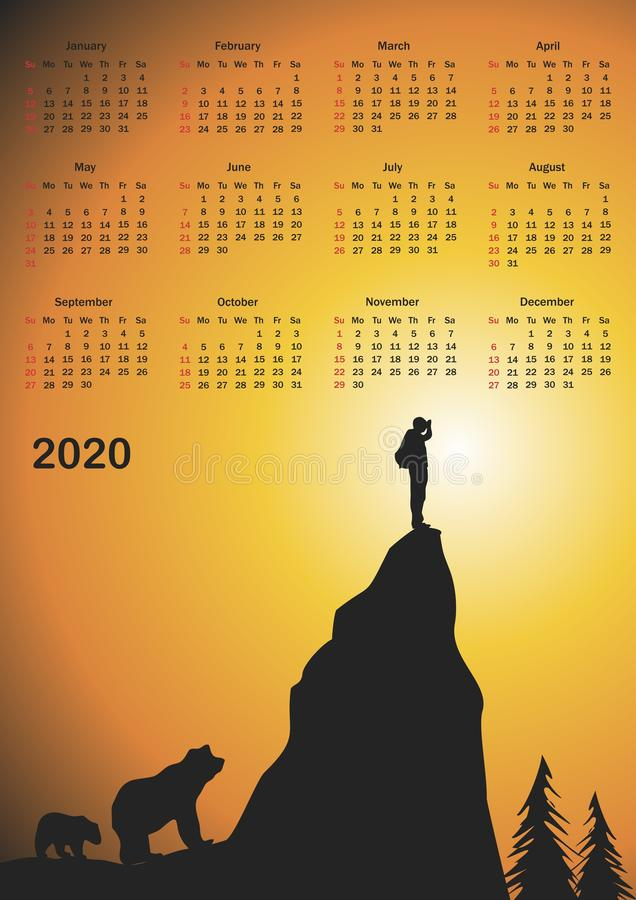 Kalender för 2020 royaltyfri illustrationer