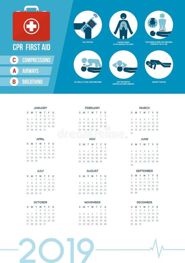 Kalender 2019 för CPR-första hjälpensats royaltyfri illustrationer