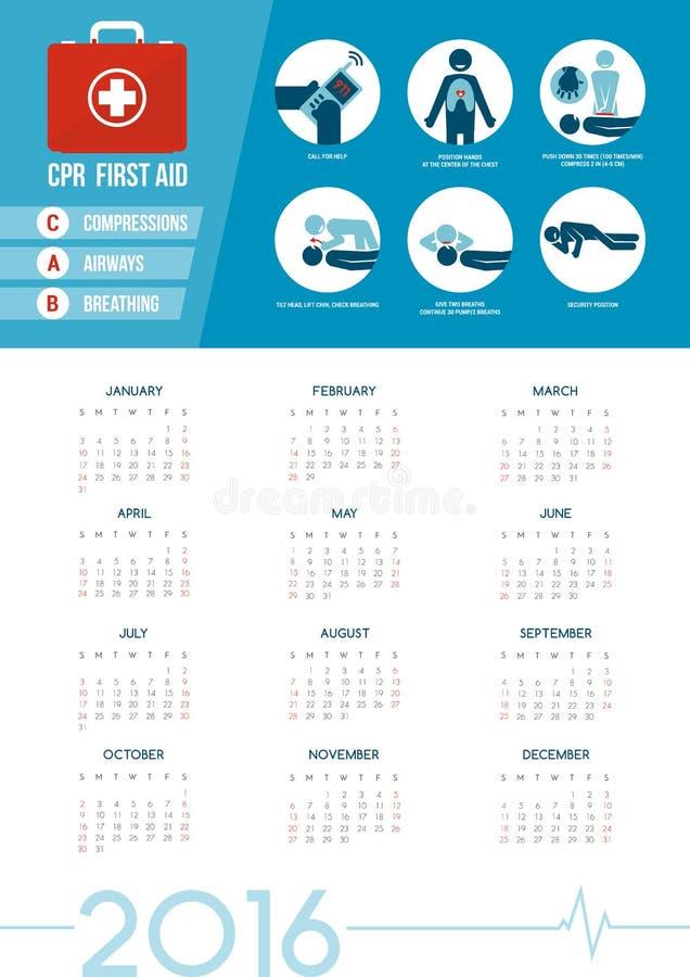 Kalender 2016 för CPR-första hjälpensats stock illustrationer