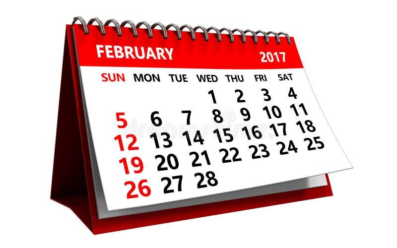 kalender för 3d februari 2017 vektor illustrationer