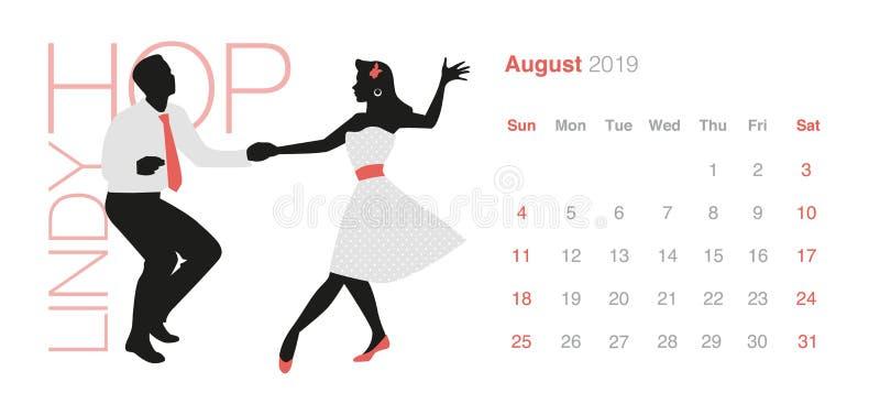 Kalender för 2019 dans August Young par som bär retro kläder som dansar Lindy Hop stock illustrationer