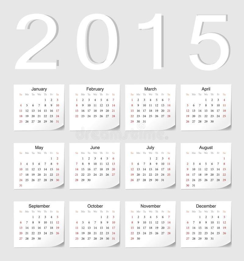 Kalender för europé 2015 vektor illustrationer
