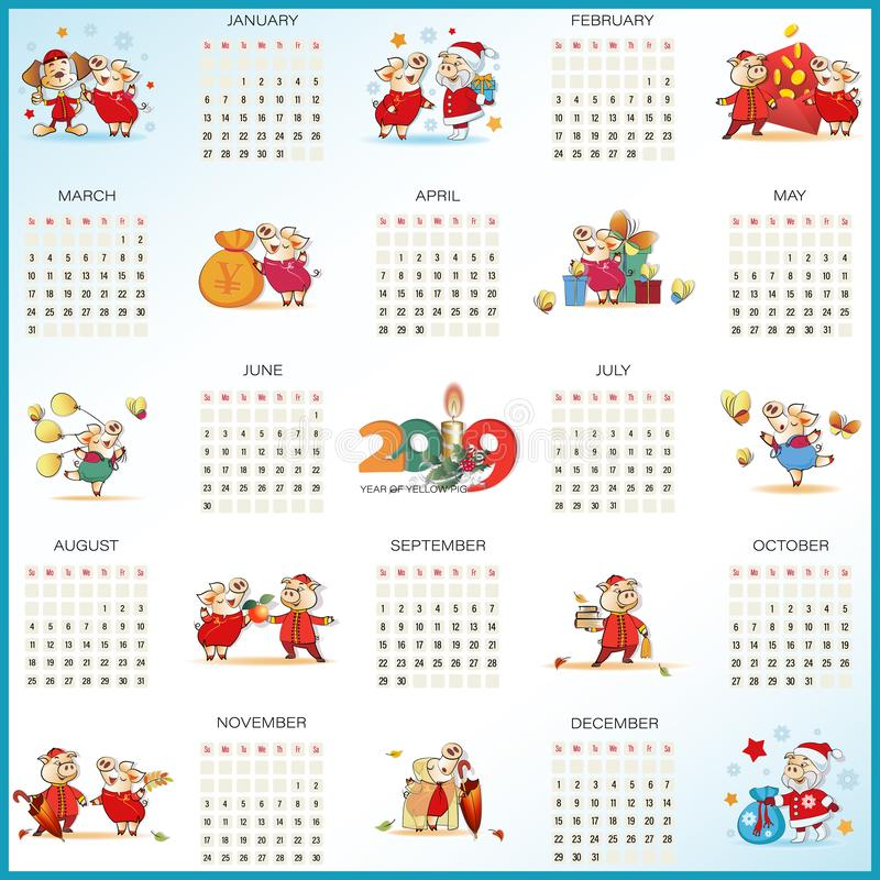 Kalender för 2019 från söndag till lördag gulliga pigs stock illustrationer