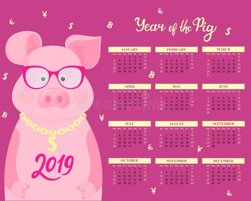 Kalender för 2019 Gulligt svin i exponeringsglas med dollartecknet på en guld- kedja roligt djur kinesiskt nytt år vektor illustrationer